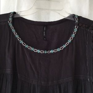 Unique charcoal flowy style with turquoise beads